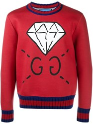 Gucci Diamond Print Sweatshirt Red