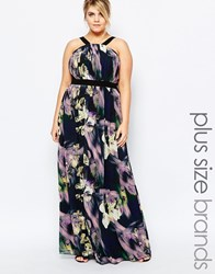 Little Mistress Plus Bold Floral Printed Maxi Dress Multi
