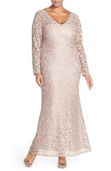 Marina Plus Size Women's Long Sleeve Sequin Lace Gown Rose