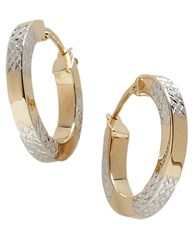 Lord And Taylor 14K Gold Two Tone Hoop Earrings 14K Two Tone Gold