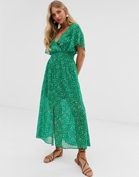 Stradivarius Ditsy Floral Maxi With Front Split In Green Green