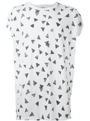 Saint Laurent Triangle Print Oversized T Shirt White