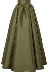 Brandon Maxwell Satin Gazar Maxi Skirt Green