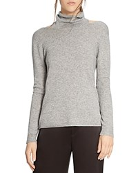 Halston Heritage Cutout Funnel Neck Sweater Heather Gray