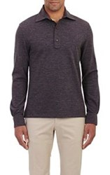 Isaia Long Sleeve Polo Shirt Brown Size Extra Large