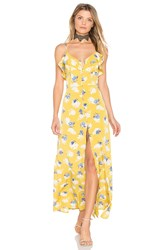 J.O.A. Flower Print Button Down Maxi Yellow