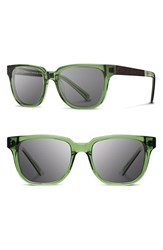 Women's Shwood 'Prescott' 52Mm Acetate And Wood Sunglasses Emerald Ebony Grey