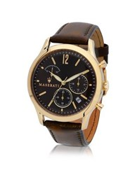 Maserati Tradizione Gold Tone Case And Brown Leather Strap Men's Chrono Watch