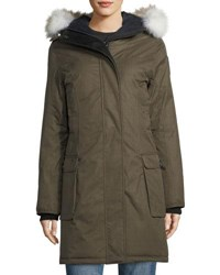 Nobis Abby Knee Length Coat With Fur Hood Olive