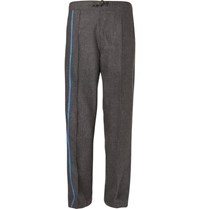 Dunhill Wide Leg Striped Houndstooth Wool Drawstring Trousers Gray