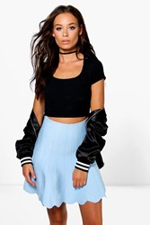 Boohoo Scallop Edge Mini Skater Skirt Blue