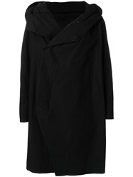 Julius Oversized Hooded Coat Cotton Linen Flax Cupro Polyester Black