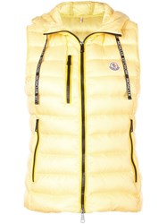 Moncler Padded Hooded Waistcoat Yellow
