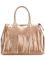 Gum Large Stud Detailed Tote Bag Metallic
