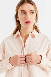 Urban Outfitters Uo Cropped Button Down Corduroy Shirt Rose