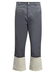 Loewe Fishermen Wide Leg Cotton Trousers Indigo