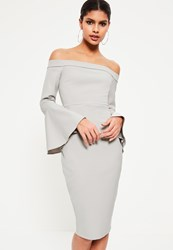 Missguided Grey Bardot Frill Sleeve Tailored Midi Dress