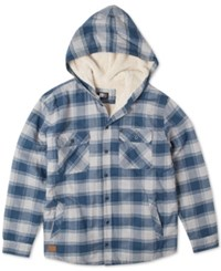 Rip Curl Hayes Plaid Flannel Hooded Shirt Jacket Off White