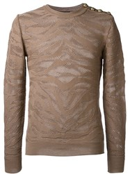 Balmain Zebra Jacquard Jumper Brown