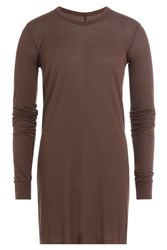 Rick Owens Men Long Sleeved Top With Silk Brown