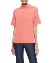 Escada Short Sleeve Cashmere Cowl Back Sweater Soft Coral