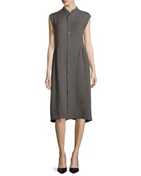 Eskandar Sleeveless Handkerchief Linen Shirtdress Elephant