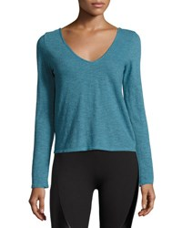 Lanston Cross Back Melange Active Top Turquoise