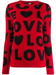 Love Moschino Patterned 'Love' Jumper Red