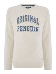 Original Penguin Men's Graphic Block Crew Neck Jumper Light Grey Marl