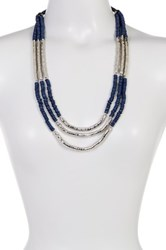 Joe Fresh Long Wood And Metal Multi Strand Necklace