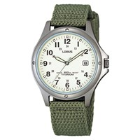 Lorus Rxd425l8 Men's Date Nylon Fabric Strap Watch Military Green Cream