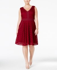 Love Squared Trendy Plus Size Lace Fit And Flare Dress Burgundy