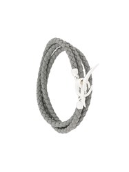 Shaun Leane Quill Wrap Bracelet Leather Sterling Silver Grey