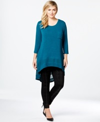 Eyeshadow Plus Size High Low Tunic Top Harbor Teal