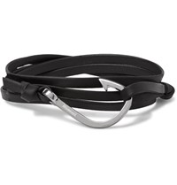 Miansai Hook Leather Silver Plated Wrap Bracelet Black