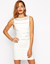 Asos Bodycon Dress In Structured Knit With Mesh Insert White
