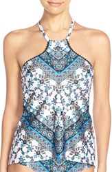 Women's Lucky Brand 'Bloom' High Neck Tankini Top