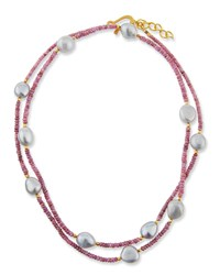 Dina Mackney Long Sapphire And Baroque Pearl Necklace Blue