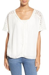 Women's Caslon Lace Trim V Neck Gauze Boho Top Ivory Cloud