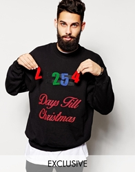 Reclaimed Vintage Christmas Sweatshirt With Stick On Countdown Days To Christmas