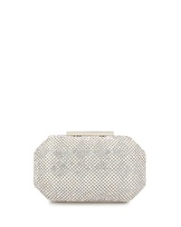 Badgley Mischka Charlese Crystal Evening Clutch Bag Silver
