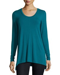 Joan Vass New York Scoop Neck A Line Tunic Aegean Teal