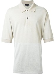 Lanvin Contrast Panel Polo Shirt Nude And Neutrals