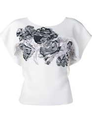 Roland Mouret Roderick Floral Embroidered Top White