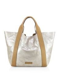 Brunello Cucinelli Large Reversible Lamb Leather Tote Silver
