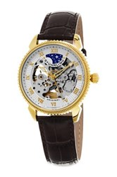 Stuhrling Men's Original Special Reserve Leather Strap Watch Metallic