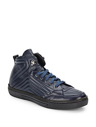Versace Zipper Trimmed Quilted Leather High Top Sneakers Blue