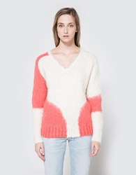 Rachel Comey Mo V Neck In Ivory Coral Ivory Coral