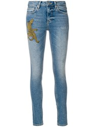 Zoe Karssen Embroidered Cheetah Skinny Jeans Blue