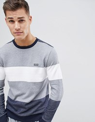 Boss Nautical Bodywear Stripe Sweat Grey